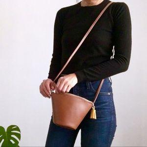 NWT Brown Vegan Leather Tassel Crossbody Bag